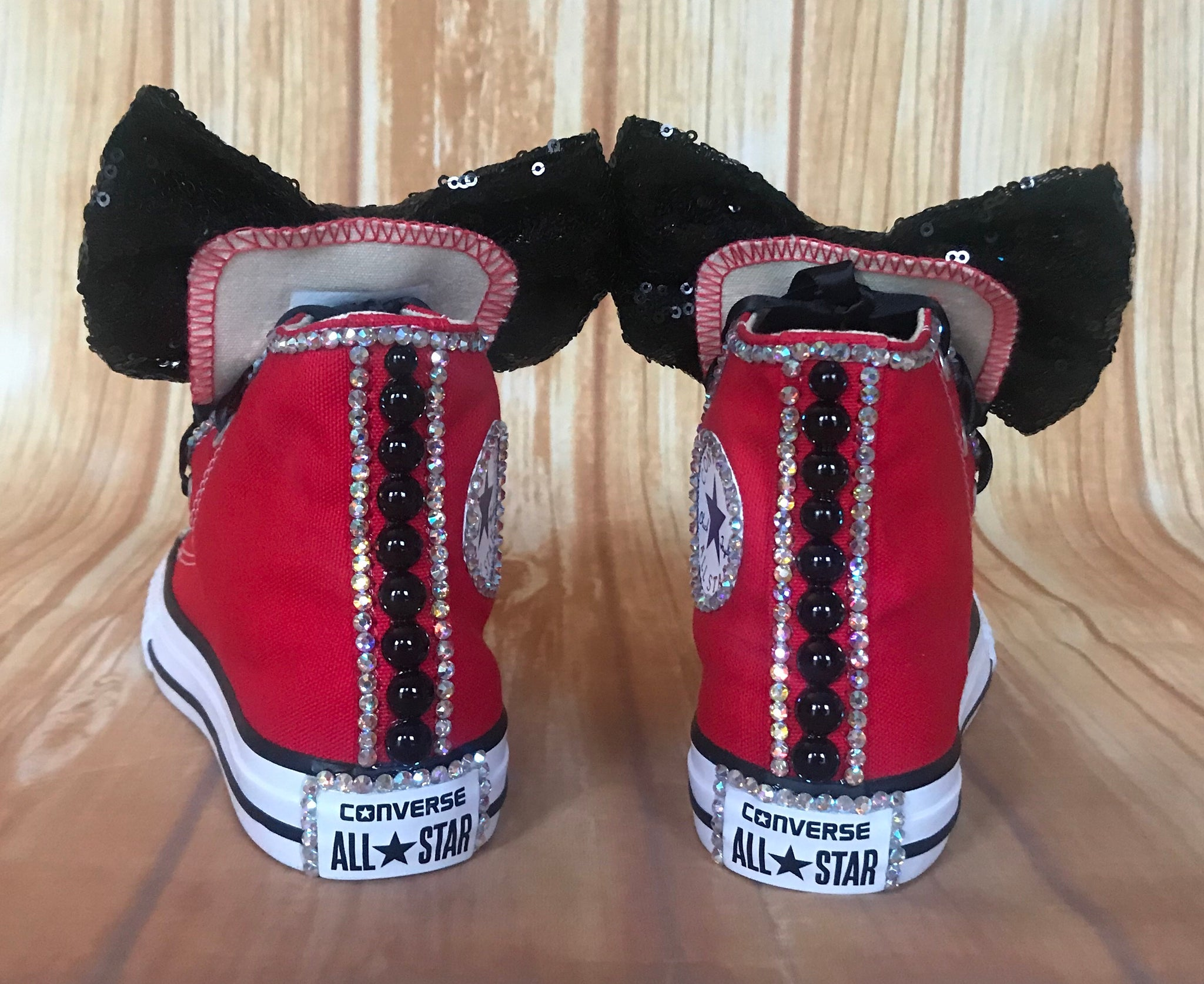 6308e50ddda88 Red Touch of Bling Converse Sneakers, Little Kids Shoe Size 10-2