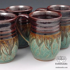 Carved Leaf mugs new at Rembrandtz Gallery