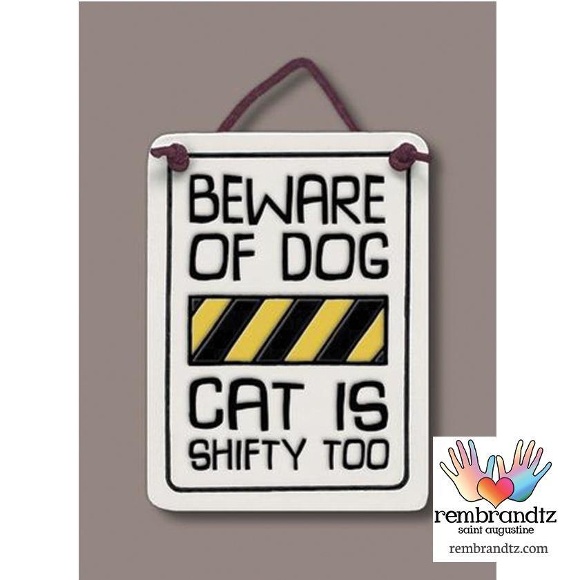 Beware of Dog Art Tile
