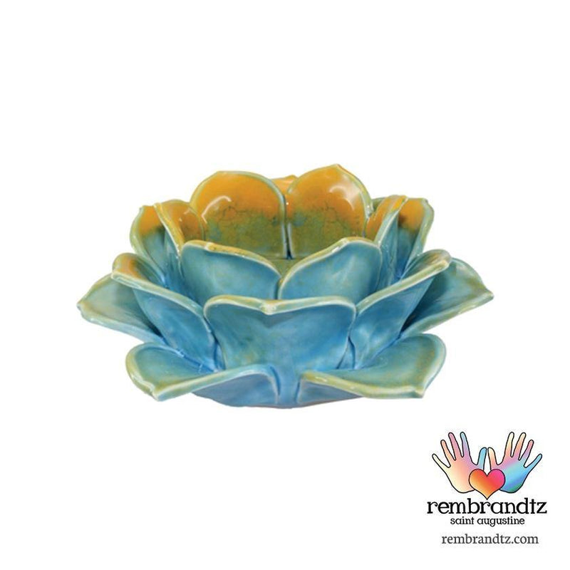 Blue Lotus Ceramic Candle Holder