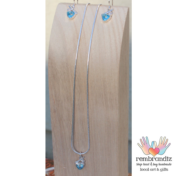 Blue Topaz Pearl Sterling Necklace Set