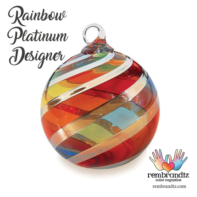 Rainbow Platinum Designer Twist Ornament