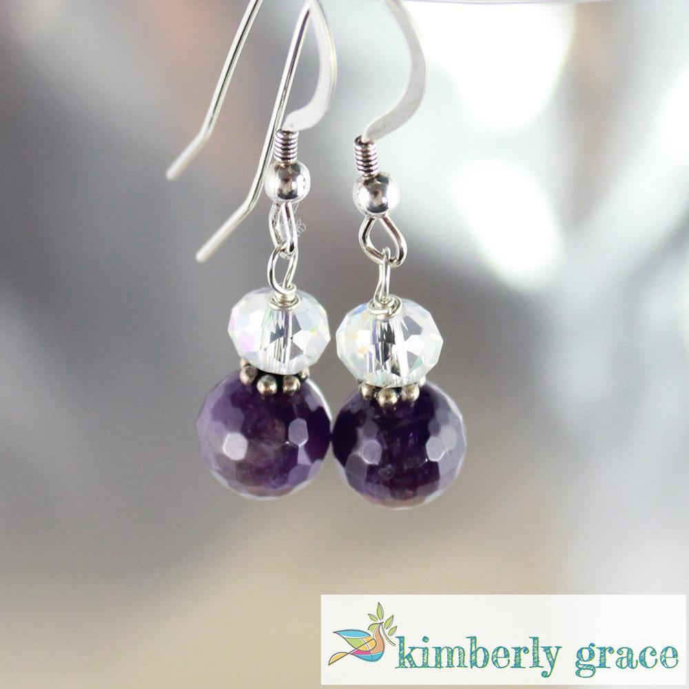 Earrings Amethyst and Crystal - Rembrandtz