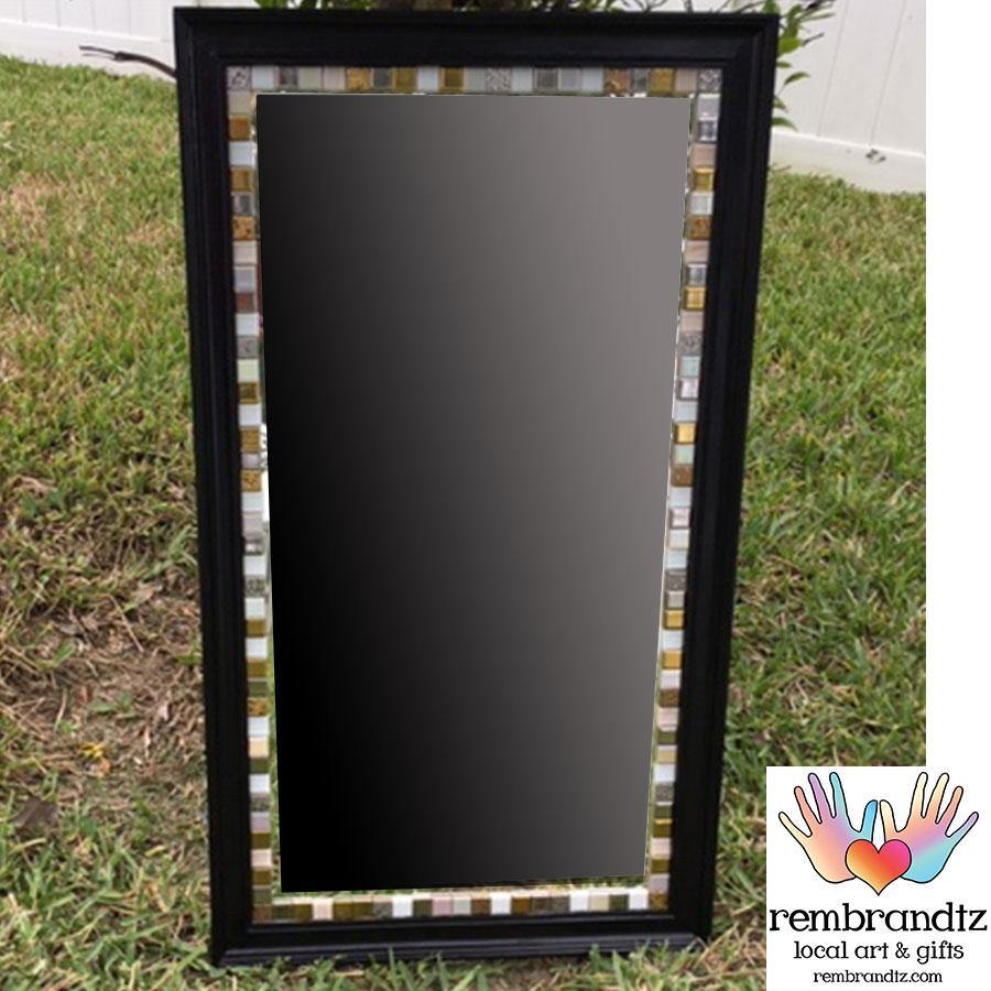 Mosaic Mirror Black and Gold Handmade
