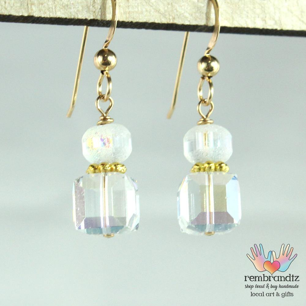 Earrings Gold Filled Crystal Square - Rembrandtz