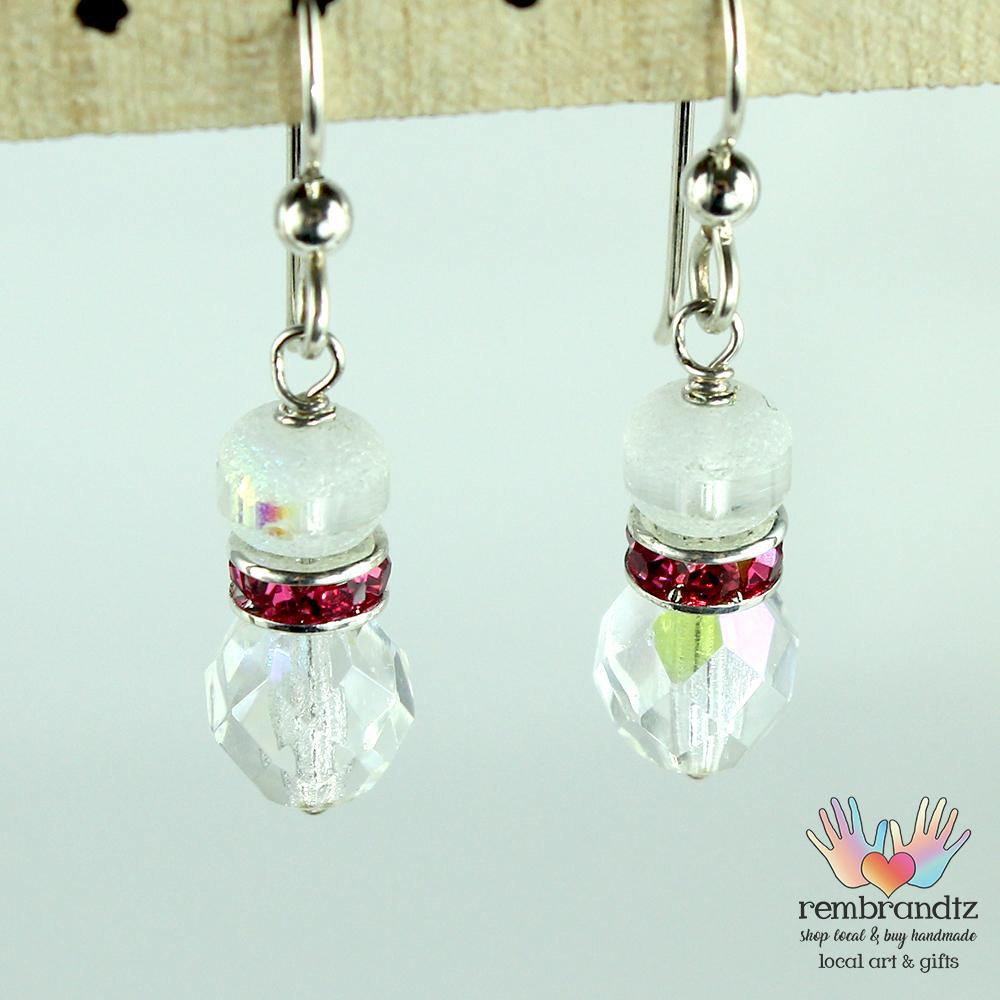 Earrings Crystal and Pink Band - Rembrandtz