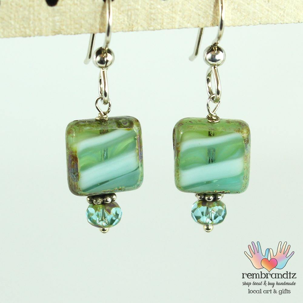 Earrings Sterling Green Wave - Rembrandtz