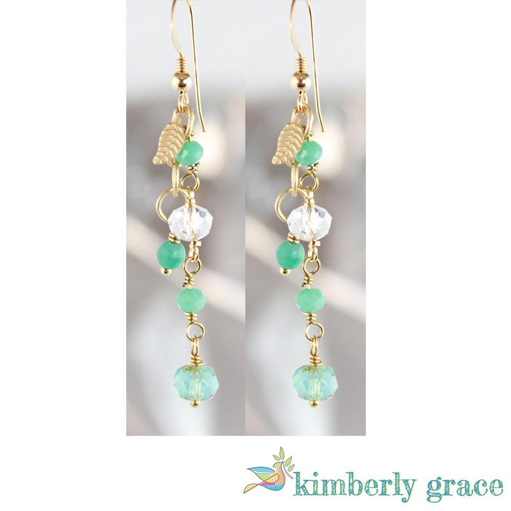 Earrings Gold Filled Aqua Blue Leaf Crystal - Rembrandtz