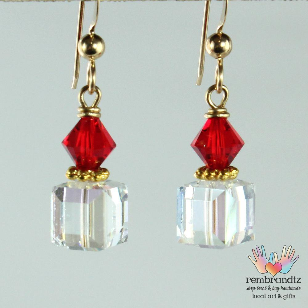Earrings Gold Filled Red Orange Square - Rembrandtz
