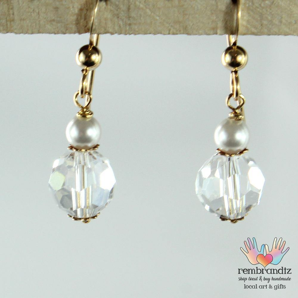 Earrings Gold Filled Crystal Pearl III - Rembrandtz