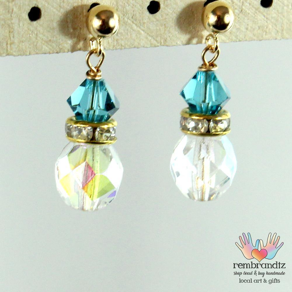 Earrings Gold Filled Crystal Blue Post - Rembrandtz