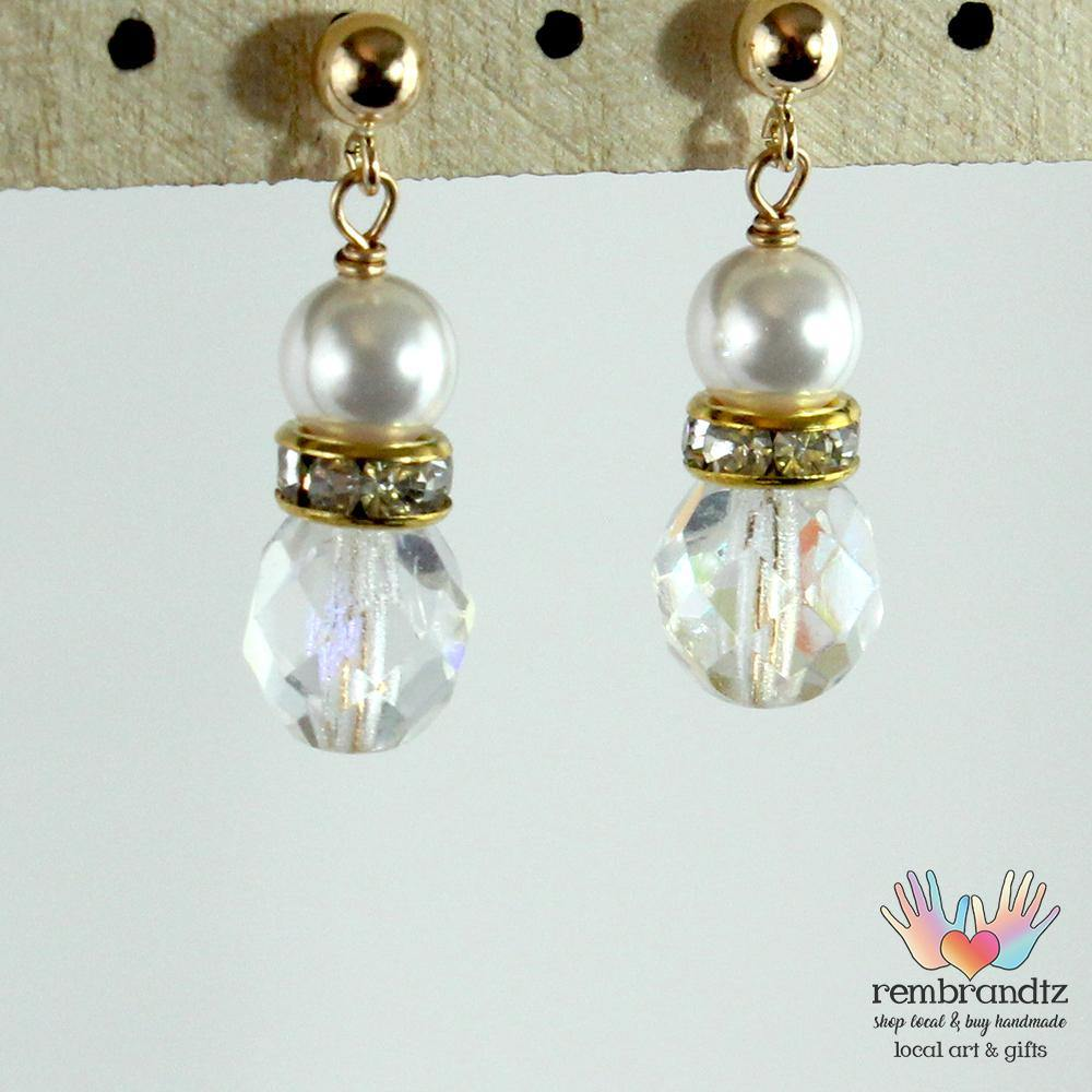 Earrings Gold Filled Crystal and Pearl Post