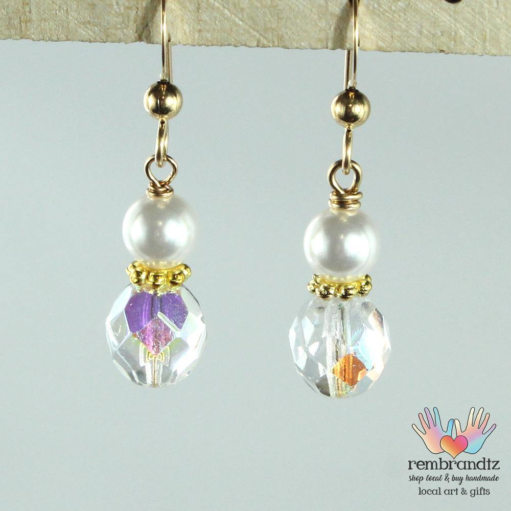 Earrings Gold Filled Crystal Pearl V - Rembrandtz