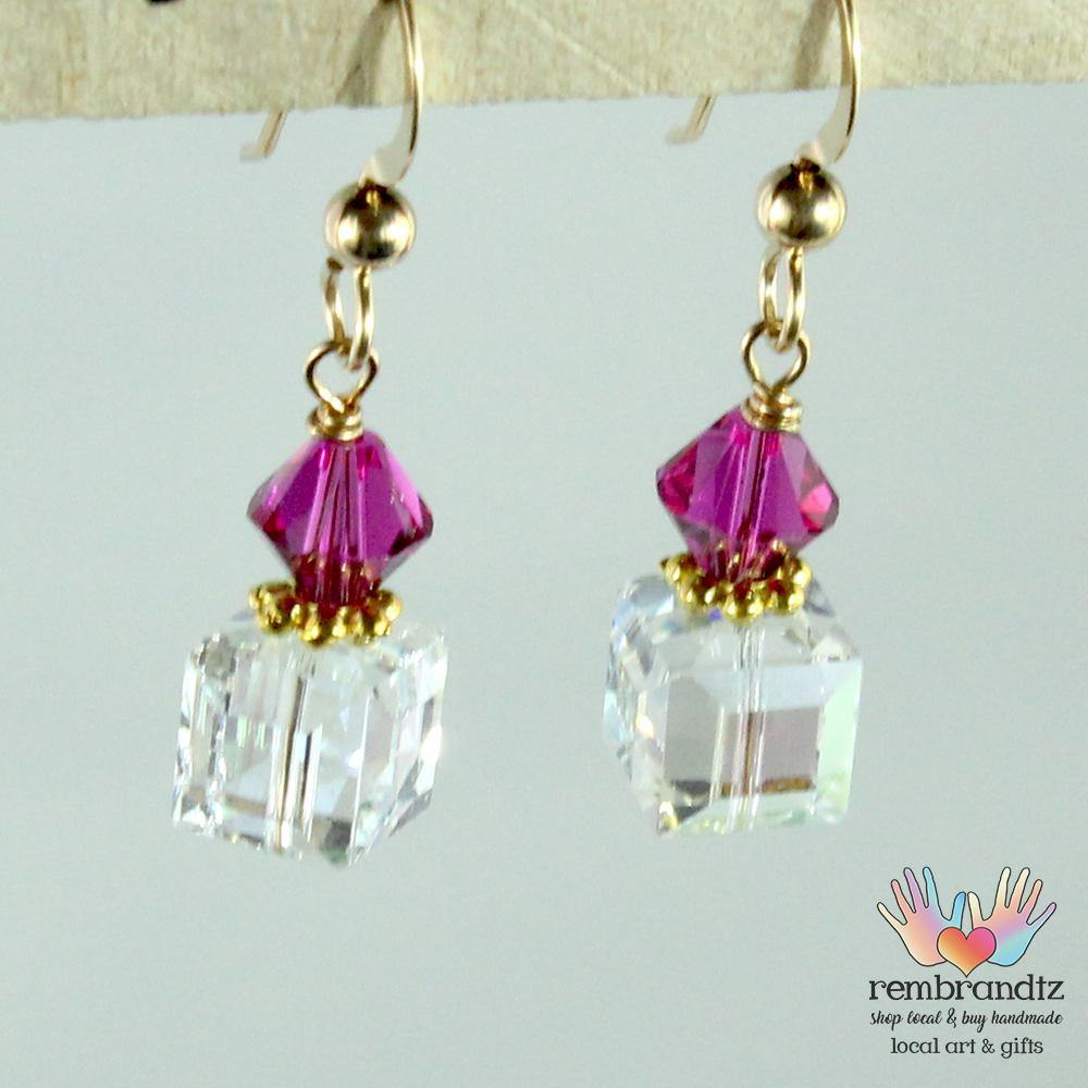 Earrings Gold Filled Crystal Square Hot Pink - Rembrandtz