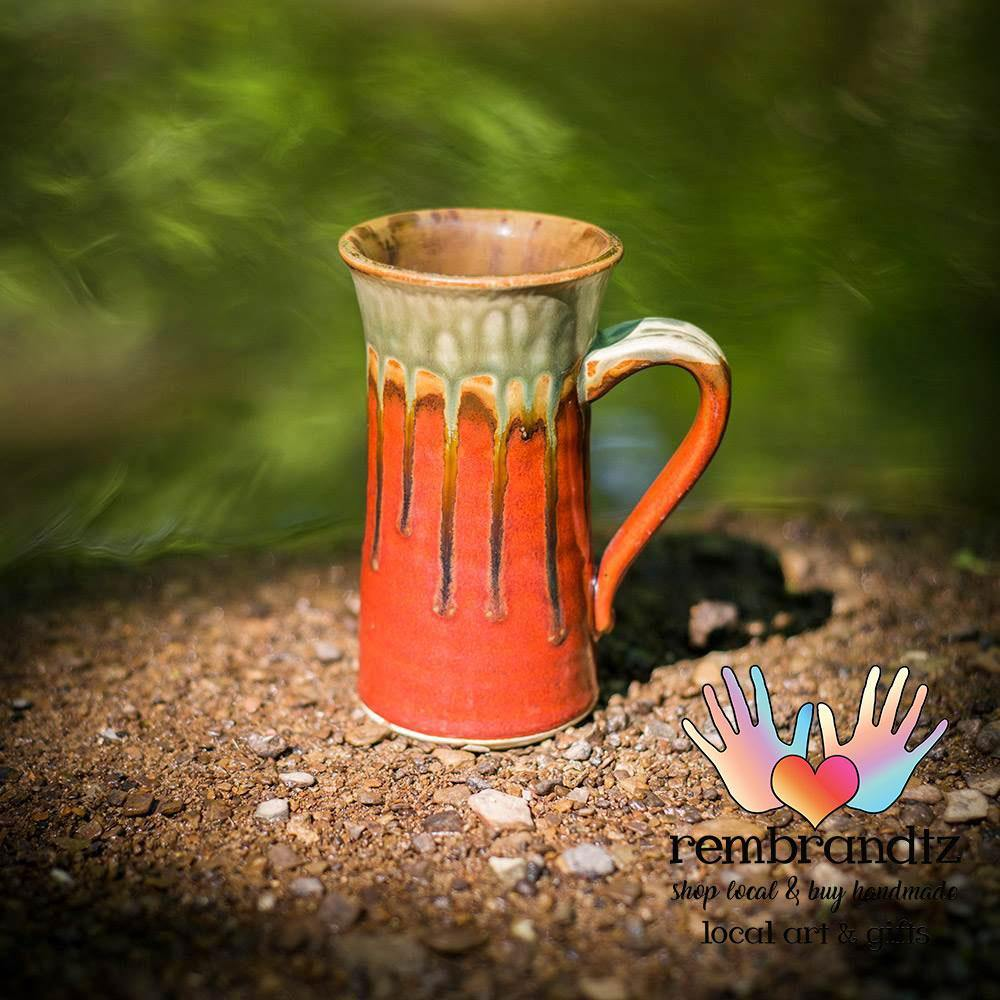 Tall Ceramic Coffee Mug Green