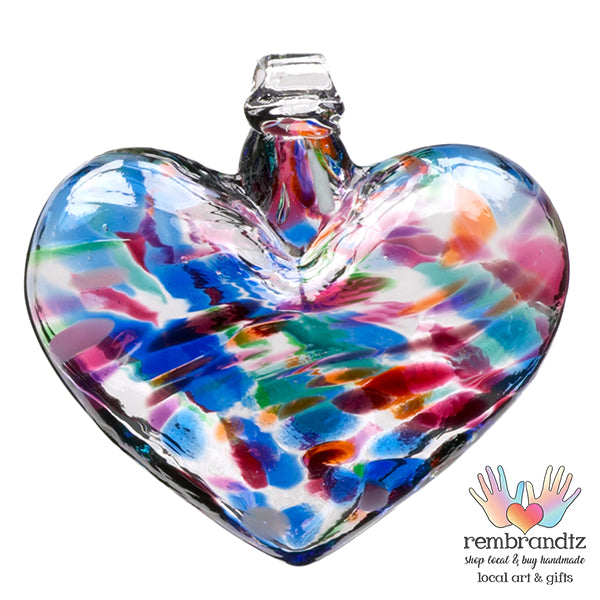 Hand blown Glass Heart Ornament, Classic Multi colored with blue, green and purple colors