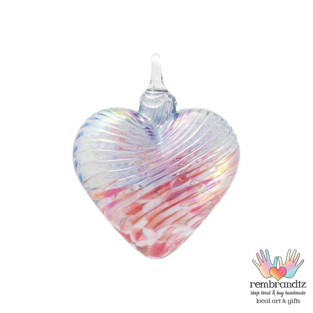 Cherry Blossom Hand Blown Glass Heart - Rembrandtz