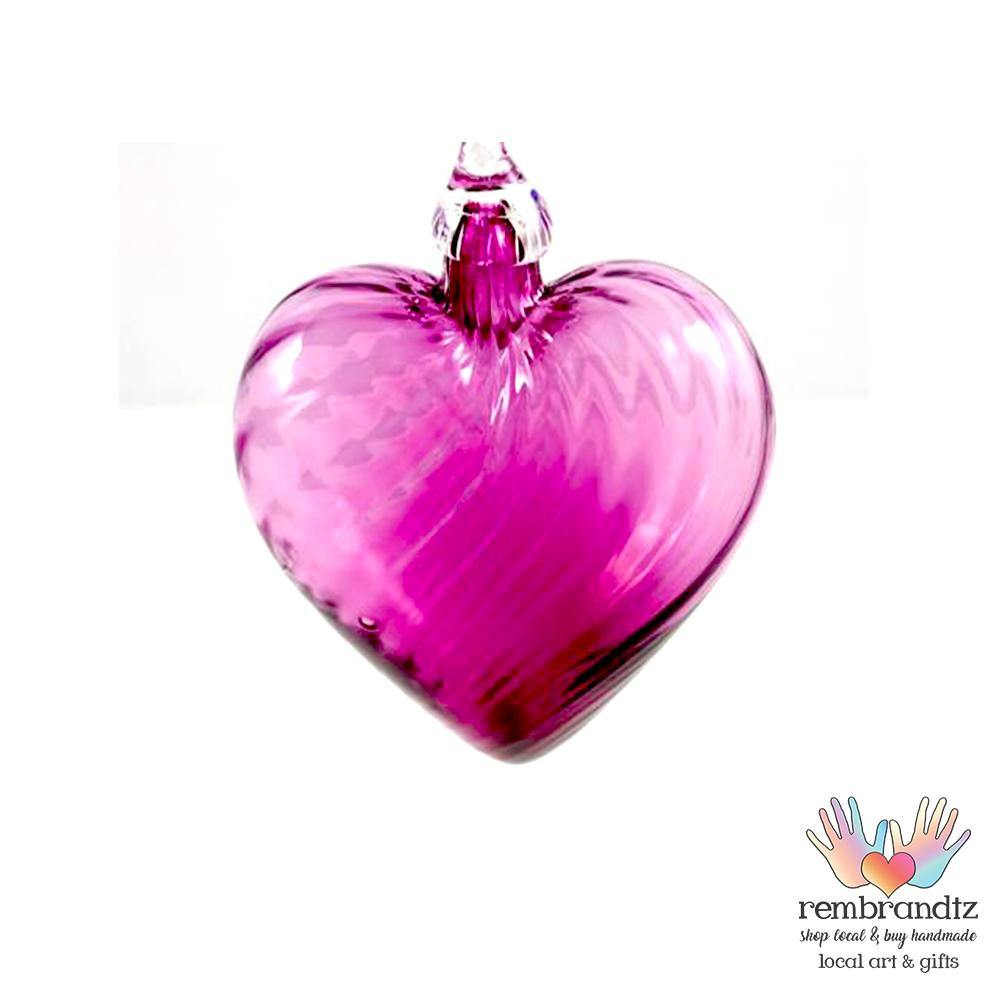 Purple Twist Hand Blown Glass Heart - Rembrandtz