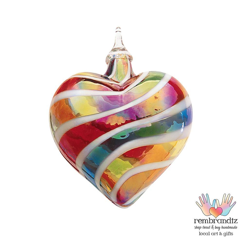 Designer Rainbow Hand Blown Glass Heart - Rembrandtz