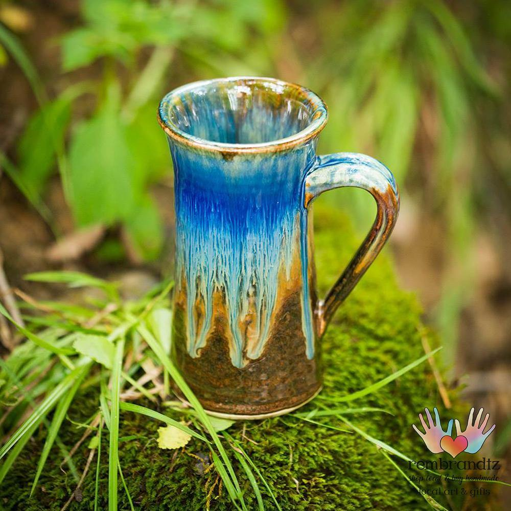 Tall Ceramic Coffee Mug Blue - Rembrandtz