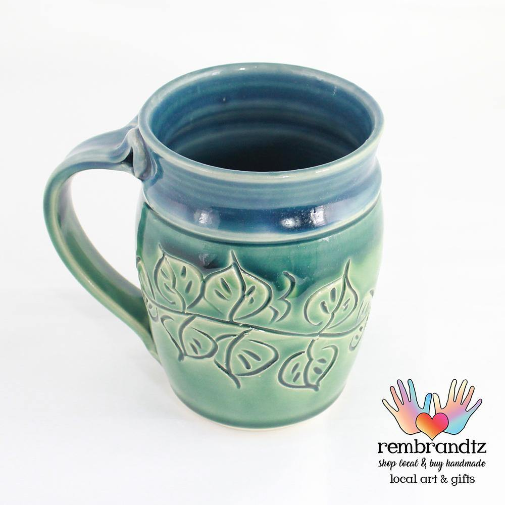 Handmade Coffee Mug Leaves Ocean Breeze Round - Rembrandtz