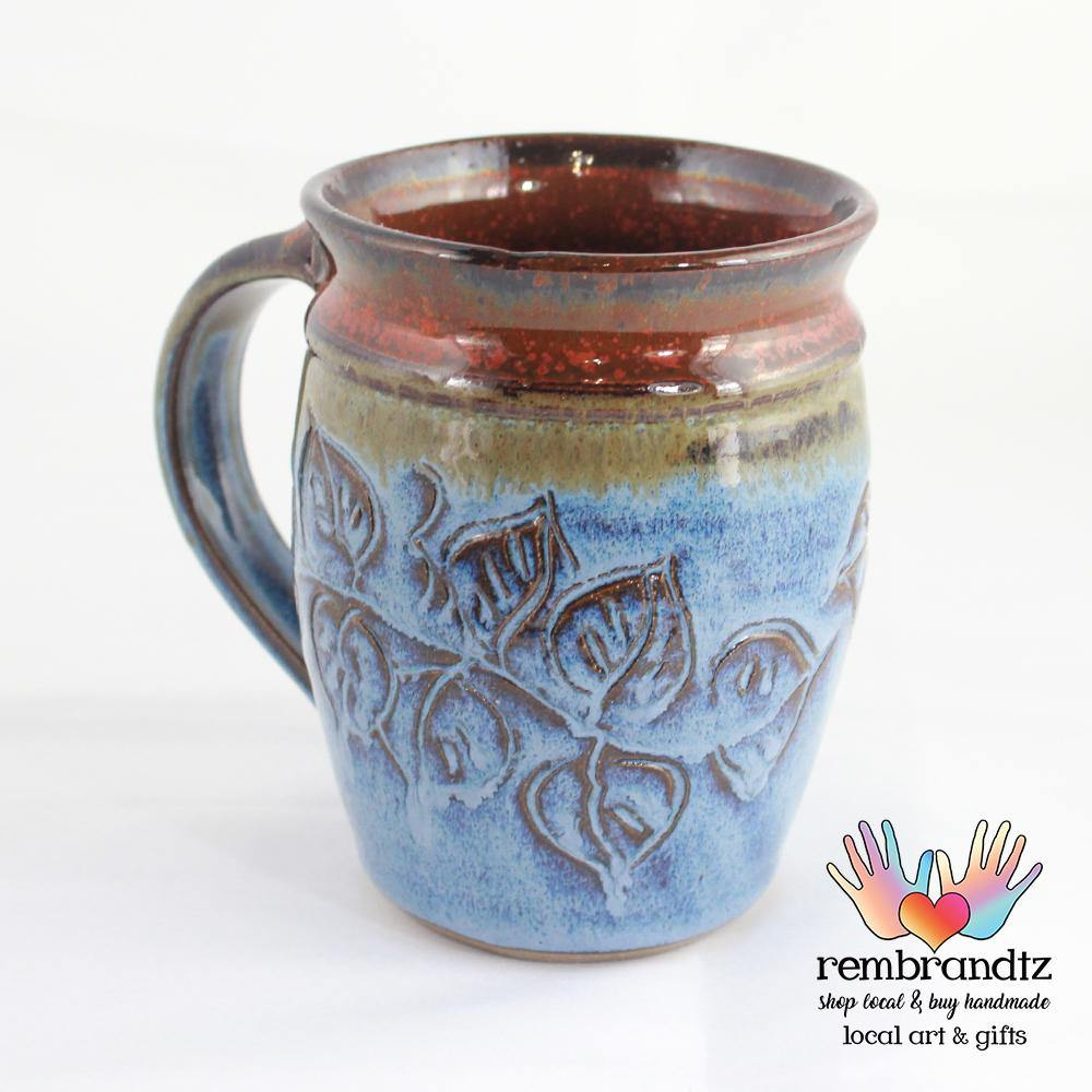 Handmade Coffee Mug Leaves Round - Rembrandtz