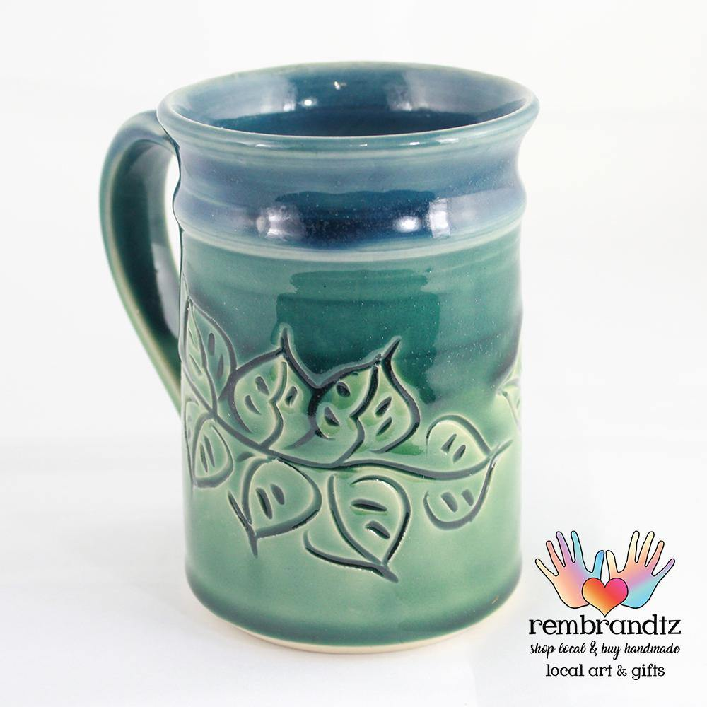 Handmade Coffee Mug Leaves Ocean Breeze - Rembrandtz