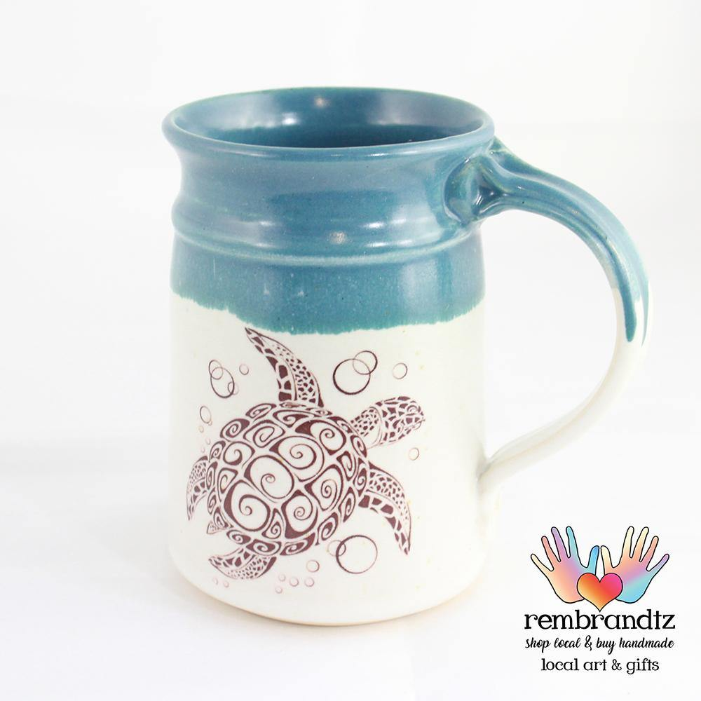 Handmade Coffee Mug Sea Turtle - Rembrandtz