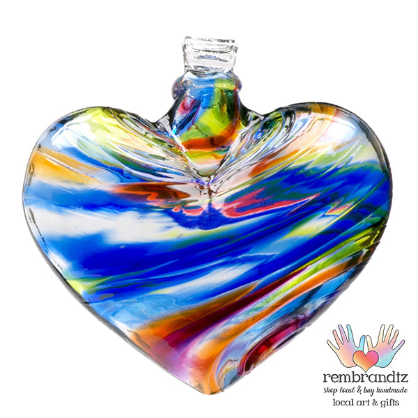 Handmade Heart Ornament Sunny Sky, blues and yellows swirled in the hand blown glass, ready to hang