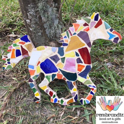 Mosaic Multi Color Horse Handmade Wall Art