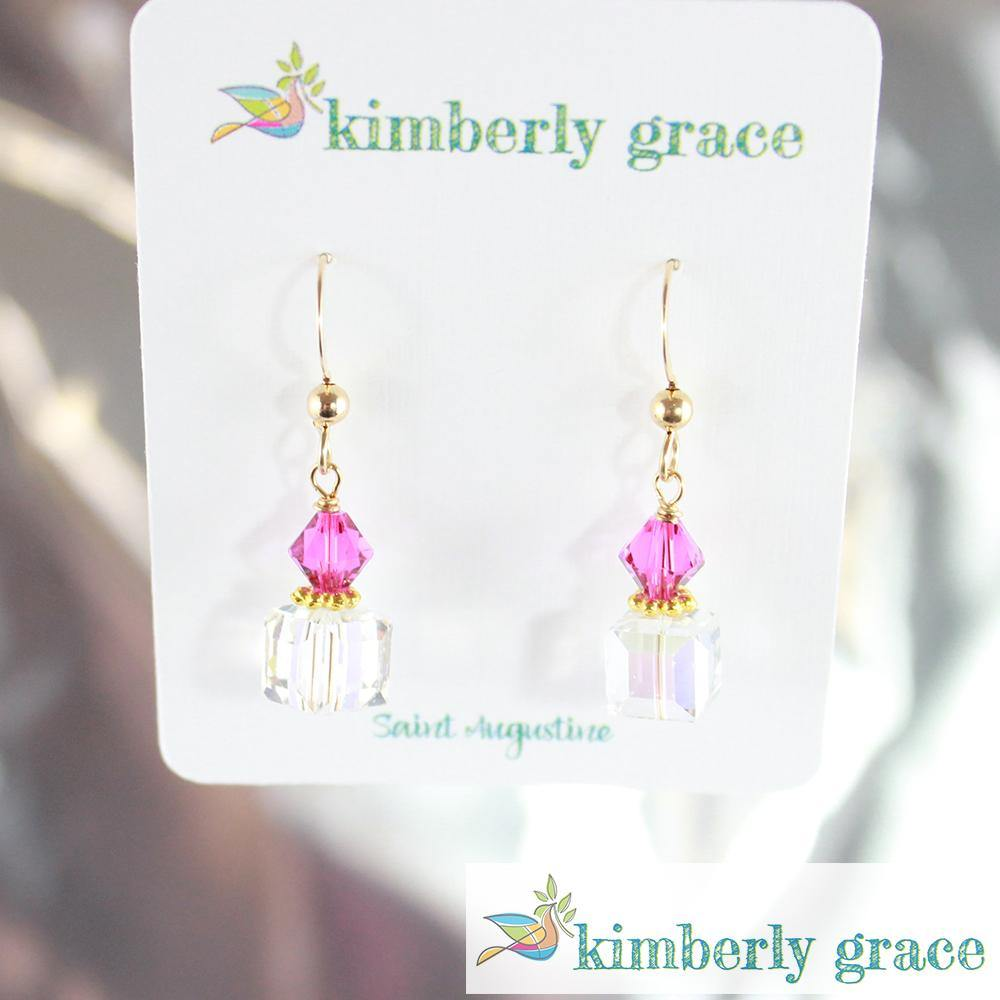 Earrings Gold Filled Crystal Square Hot Pink