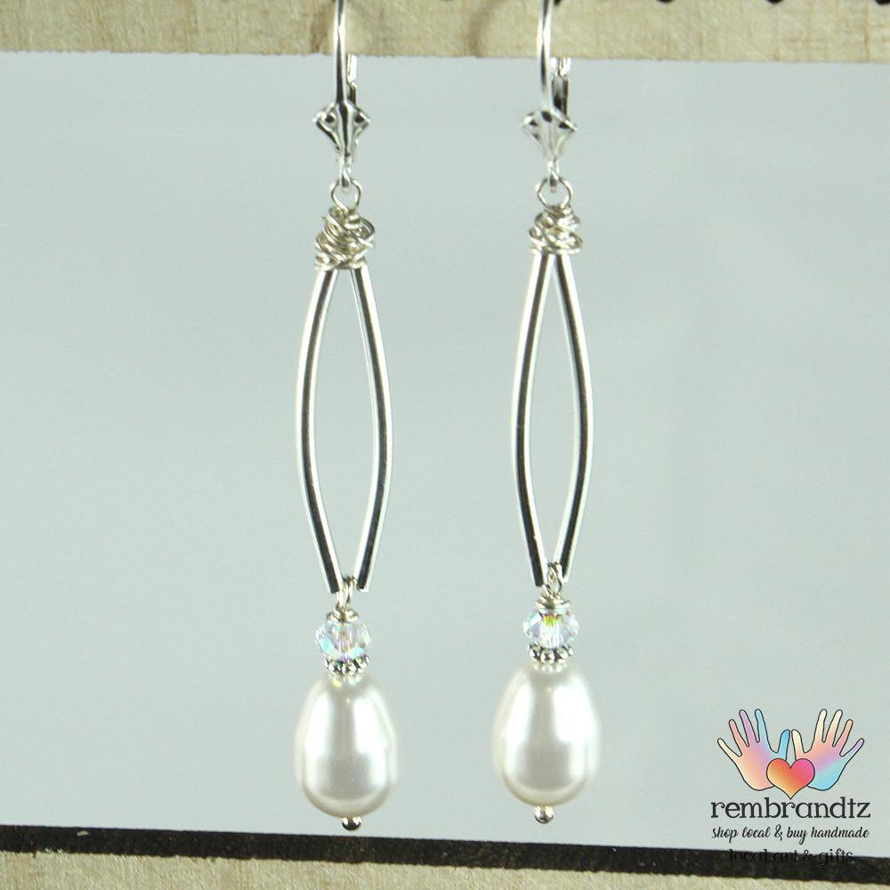 Earrings Sterling Leverback Pearls - Rembrandtz
