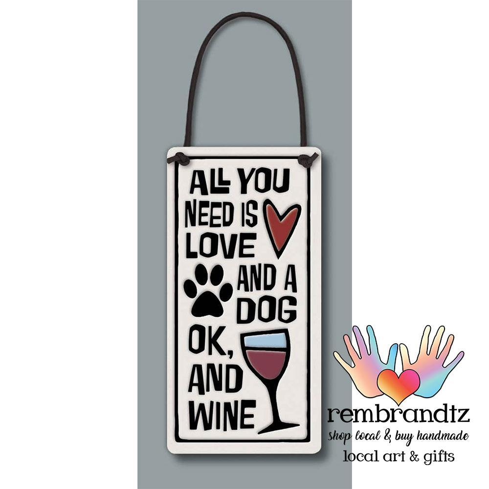 Love Dog Wine Art Tile - Rembrandtz