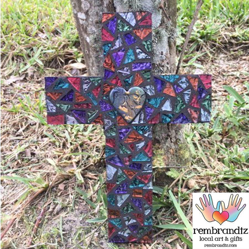 Mosaic Heart Cross Handmade