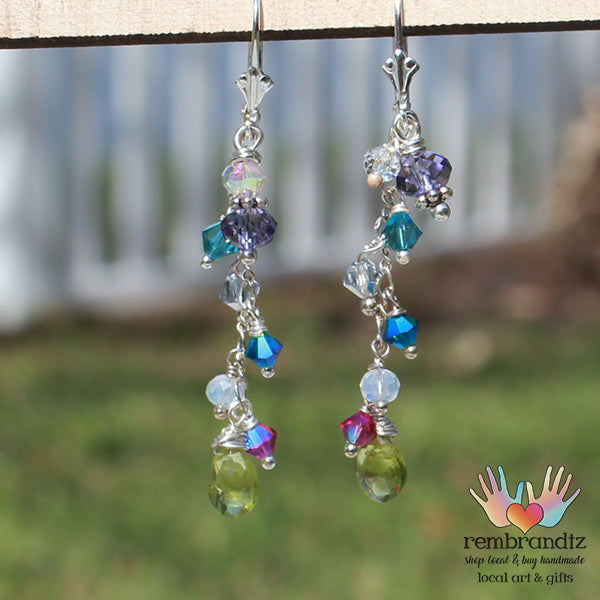 Peridot Colorful Earrings Sterling Leverback