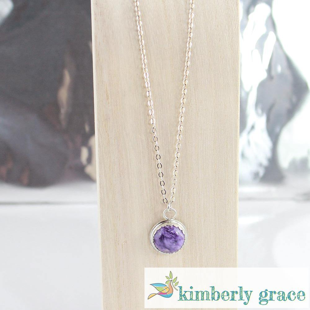 Necklace Sterling Purple Charoite Handcrafted - Rembrandtz