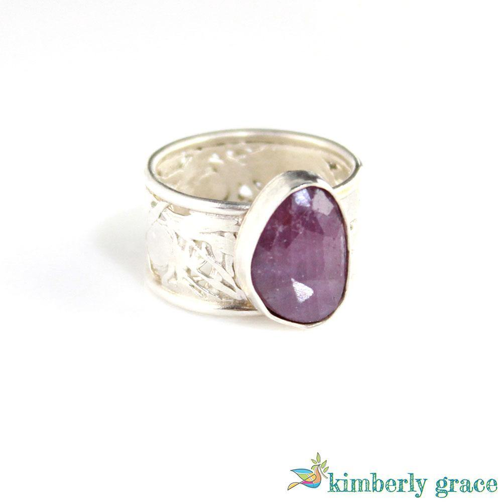 Ring Sterling and Pink Rosecut Sapphire - Rembrandtz
