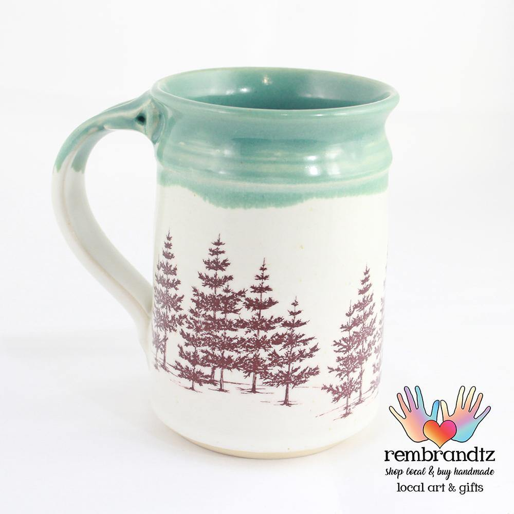 Handmade Coffee Mug Evergreen Trees - Rembrandtz