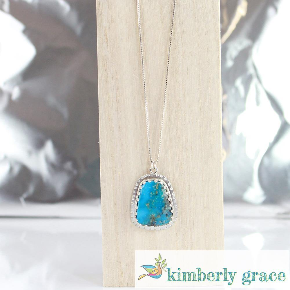 Necklace Sterling Turquoise Heart Bezel - Rembrandtz