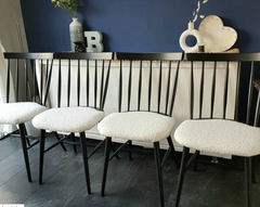 Upcycled dining chairs using cream boucle