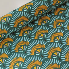 Petrol palm print fabric for upcycling