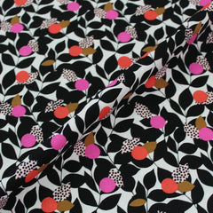 Black and pink floral fabric