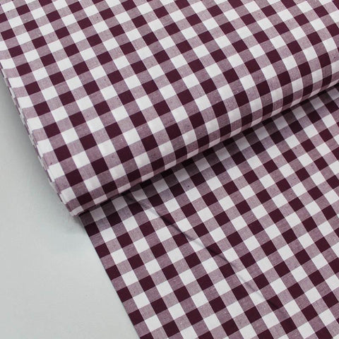 Aubergine gingham check for Autumn shirts
