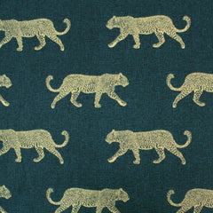 Leopard print fabric gold and petrol