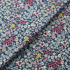 Blue floral linen look fabric