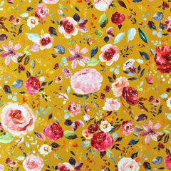 Organic Cotton Jersey Floral Yellow