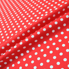 Red polka dot cotton fabric