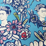 Cactus Flower with Frida Kahlo Cotton by Alexander Henry - Blue