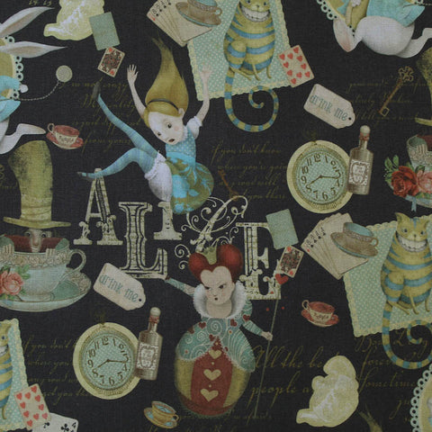 Alice in Wonderland Printed Charcoal Cotton