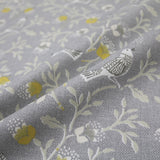 Hedgerow Birds Home Furnishing Fabric- Grey